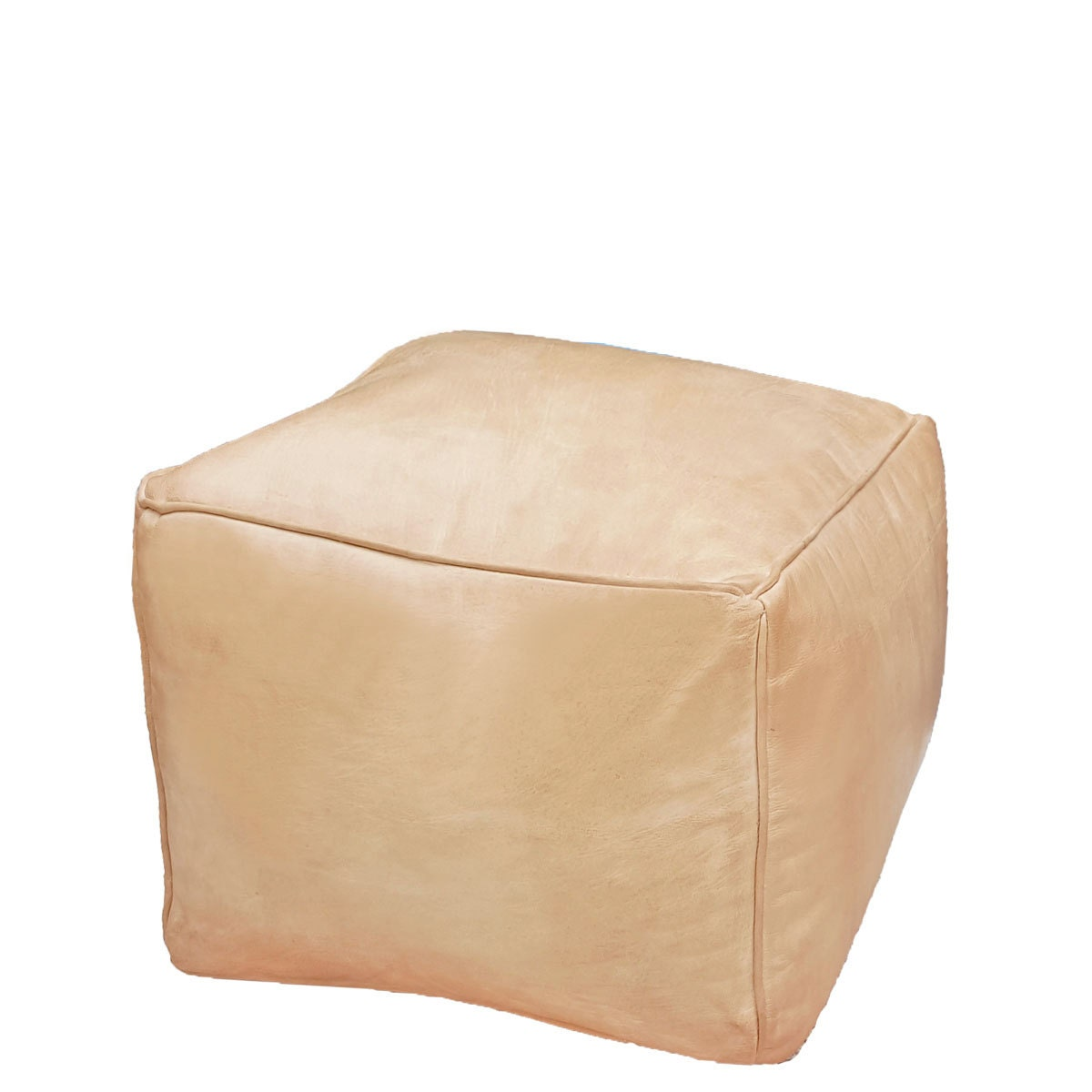 leather pouf ottoman natural leather light tan cube. Black Bedroom Furniture Sets. Home Design Ideas