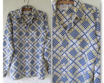 Arrow Ultressa Houndstooth Mens Dacron Polyester Button Down Disco Shirt- Medium