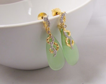Mint Green Glass Drop Statement Earrings