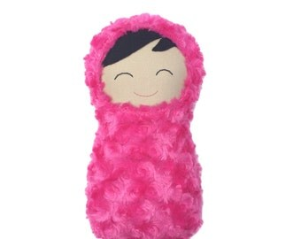 "First Doll in Fuchsia Fur - Unique Handmade Dark Skinned Soft Dolly, Snuggly Swaddle Doll, Child Safe First Baby Doll, 10"" High"