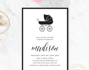 Baby Carriage  Baby Shower Invitation / Baby Shower Invitation / Printable Baby Shower Invite / Gender Neutral