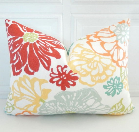 Red And Yellow Decorative Pillows : Floral Pillow Cover Yellow Red Decorative Pillow 12x16