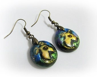 Greyhound Whippet Galgo Earrings Round Hand Painted
