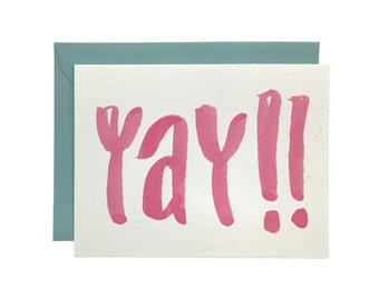 Hand Lettered Yay! Card, Recycled Congratulations Card