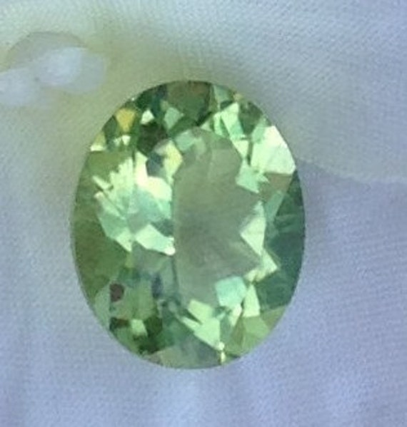 5 Carat Amblygonite 10x12mm Natural Gemstone Chartreuse Green with Video