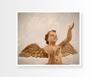 Nursery wall art, Angel wall art, Religious Art, Sculpture Print, statue photography, peaceful print