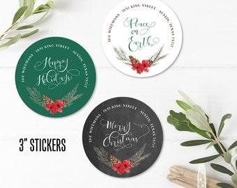 Christmas Return Address Labels - Envelope Stickers - Holiday Address Envelope Seals