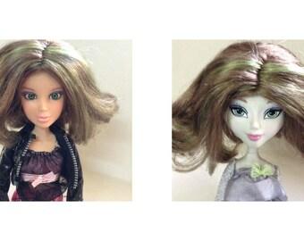 Mystixx Doll Wig, Liv Doll Wig, Replacement hair, brunette, green highlights, fashion doll accessories, doll wig, doll hair, Greece