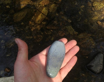 Smoking Stone / / Layered Grey Glass Flatty Rock Chillum