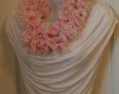 LYI94: Lace Yarn Infinity Scarf (Pink Lace) FREE SHIPPING