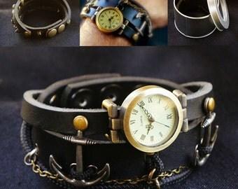 Wrist Watch Bracelet with Anchor, Leather Bracelet for Man, Anchor Bracelet, Nautical Jewelry, Adjustable
