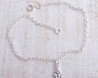 Bunny rabbit ankle bracelet sterling silver 925 charm chain ankle bracelet anklet