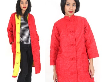Vintage 70s Red Yellow Asian Chinese Quilted Puffy Coat Jacket Embroidered Hippie