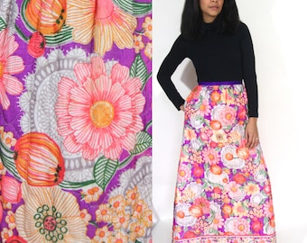 Vintage 60s 70s Quilted Rainbow Floral Psychedelic Maxi Skirt Hippie Festival