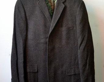 Vtg. BOTANY 500 for MAG & SONS Brown Hopsack Sack Jacket Sport Coat Blazer Trad Ivy Style Appx Size 40/42 L Long
