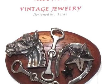 Animal /Horse Theme. 1-of-a-kind Collage Brooch and/or Pendant made from vintage jewelry. Horse, Horseshoe, Tack .Antique Silver . #52.