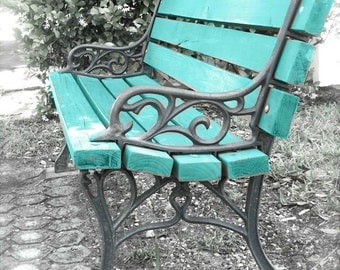 "Garden Bench Photo, Bench Art, Turquoise Print, Rustic Cottage Farmhouse Art, Blue Bench, Abstract Park Bench Still Life- ""Waiting in Vain"""
