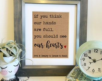If you think our hands are full, you should see our hearts | Personalized Burlap Print | Family Sign | Mother's Day Gift| Frame not included