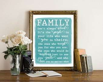 Family Isn't Always Blood | Watercolor Fine Art Print | Adoption Gift | Stepdaughter Stepson Stepmom Stepdad | Frame not included