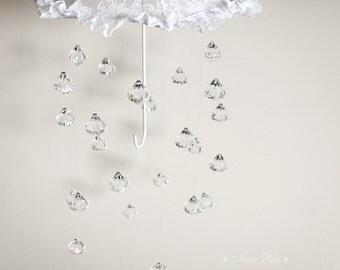 Baby Mobile Crystal Mobile  Rain Mobile Umbrella Mobile Crystal Baby Mobile Lace Umbrella Nursery Mobile Nursery Decor Baby Shower Decor