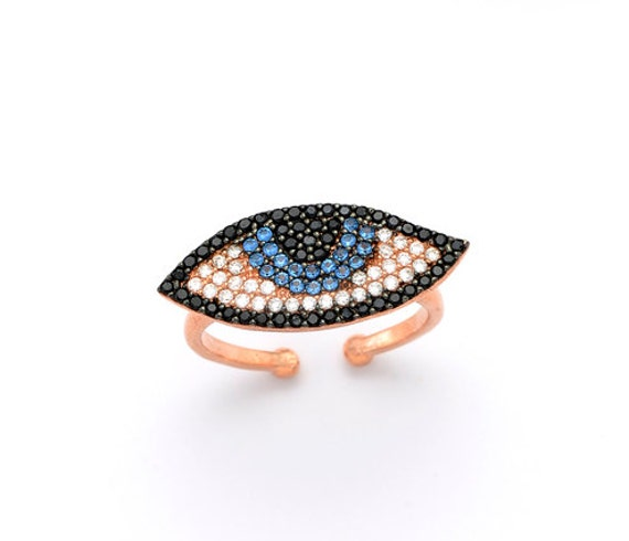 Eye ring silver 925 with zircons, eye shape ring silver 925 with shining zircons, woman eye ring, eye zircon ring
