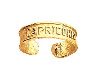 14k Yellow Gold Adjustable Capricorn Zodiac Sign Toe Ring