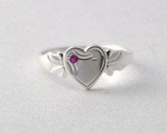 Sterling Silver Signet Ring with Birthstone for Girls - Single Heart