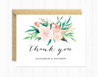 Thank You Cards, Wedding Stationery, Flower Thank You Card