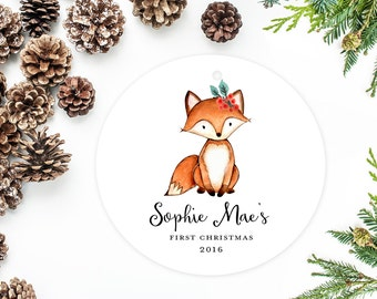 Baby's First Christmas Ornament, Personalized Children's Ornament, Little Fox with Holly