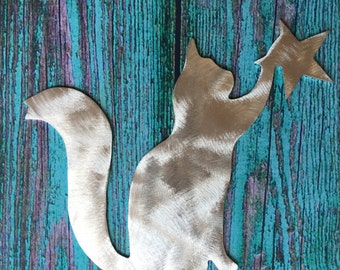 Kitty Kitty, Cat Christmas Tree Topper, Holiday Decoration, Aluminum, Unique Cat Gift, Metal, Art, Handmade, Pet, For Cat Lovers Only