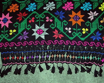 Vintage Mayan Handwoven Shawl/Runner/ Wall Hanging from Guatemala  50+ Years Old