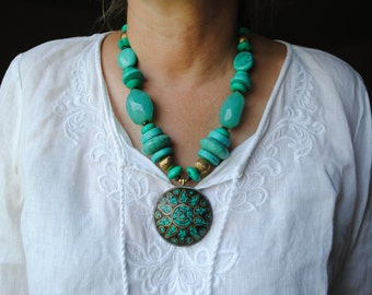 Turquoise Tribal Necklace // Large Jewelry Statement Piece