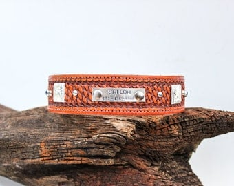 Hand Stamped Leather Dog Collar // Personalized Dog Collar