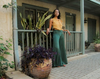 Handmade Tropical Green Bellbottoms, Embroidered Pants, High Waisted, Harem Pants, Palazzo Pants, Wide Leg Boho Pants, Gold Embroidery