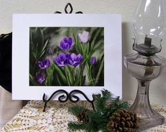 Tulips, purple, Floral Art Print 8inx10in