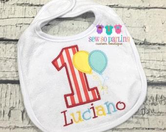Baby Boy 1st Birthday Circus Bib - Boy Birthday circus Bib - First Birthday personalized bib