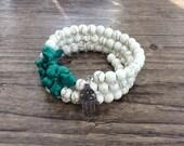 Turquoise Memory Wire Wrap Bracelet with Hamsa Charm
