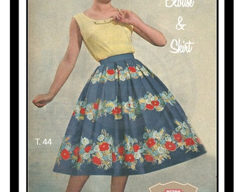 1950s Skirt and Summer Top Vintage French  Sewing Pattern   - PDF Full Size Sewing Pattern - Rockabilly - Pin Up - Instant Download