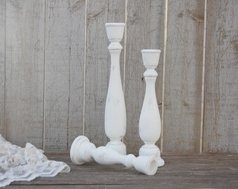 Candlesticks, Shabby Chic, Painted Wood, Hand Painted, White, Tall, Rustic, Taper, Candle Holders, Wooden, Beach Decor, Wedding Decor