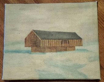 Vintage Folk Art Painting of Appalachian Barn from Series by MCC 1986  C908