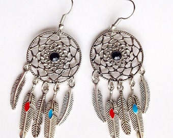 Dreamcatcher Colorful Feather Dangling Earrings //Native soul