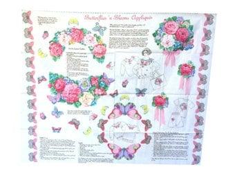 Butterflies 'n Blooms Applique Fabric Panel, Cut and Sew Panel, VIP Screen Print Cranston Print Works, Flower Applique, Butterfly Applique
