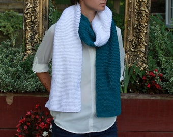 Oversized Blue and White Hand Knit Scarf for Teens and Women