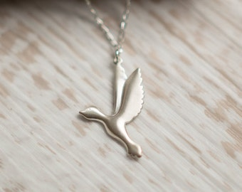 Sterling Silver Goose Pendant Necklace, Gift for Her, Sister, Best Friend