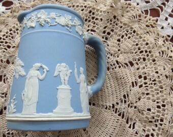 Wedgwood Jasperware Cream Jug Blue - Greco Roman Design - 1960 circa