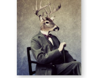 "Deer Art Print Animal Art Animals In Clothes Cabin Camp Decor Anthropomorphic Woodland Man Cave Decor, (3 Sizes) ""Buck"""