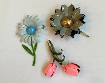 VINTAGE ~ ENAMEL Flowers Set of 3 ~ 60's