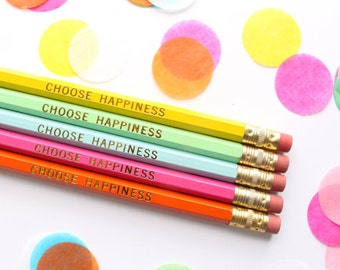 Choose Happiness Pencils, Gift, Best Friend Gift, Set of 5 Hex Pencils, Gold Foil Pencils, Engraved Pencils, Imprint Pencils, encourangement