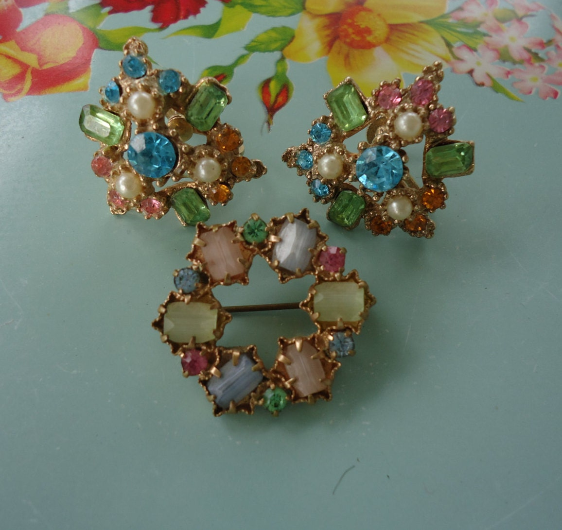 multi colored gemstone brooch and earrings by catsandclover