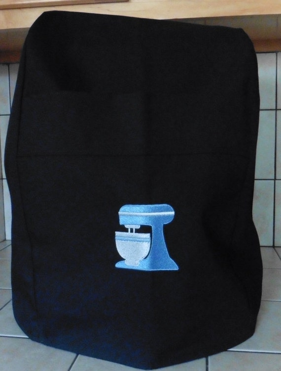 Kitchenaid Mixer Cover Black With Embrioded Blue Mixer